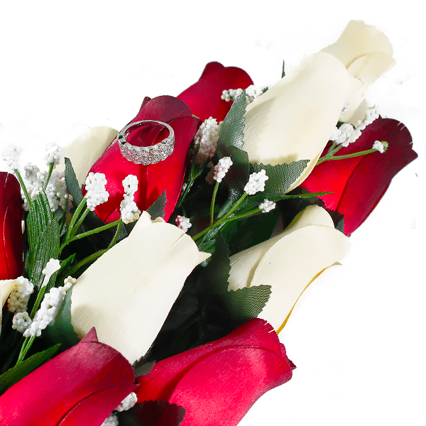 Cream & Red Bouquet | Jewelry Surprise Roses® - BathBombs.Com