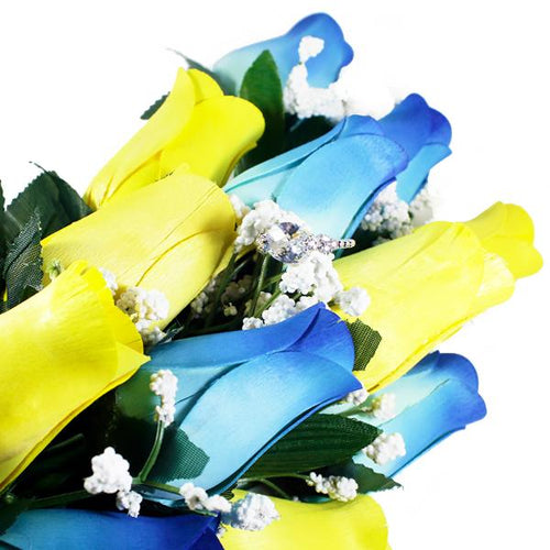 Baby Blue & Yellow Bouquet | Jewelry Surprise Roses®-Jewelry Surprise Roses®-The Official Website of Jewelry Candles - Find Jewelry In Candles!