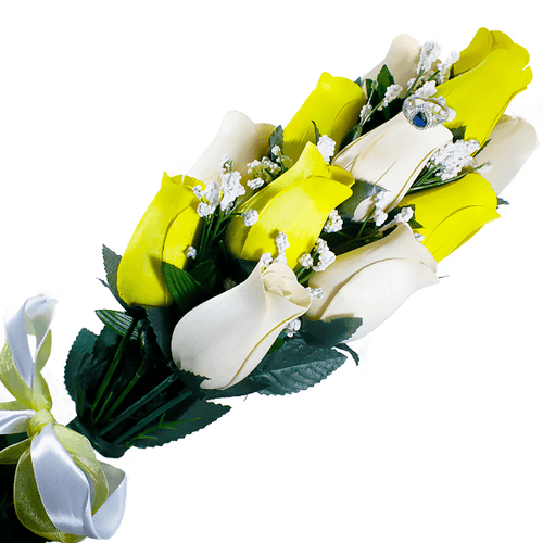 Cream & Yellow Bouquet | Jewelry Surprise Roses®-Jewelry Surprise Roses®-The Official Website of Jewelry Candles - Find Jewelry In Candles!