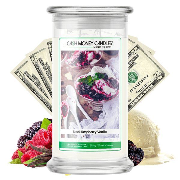 Black Raspberry Vanilla Cash Money Candle - BathBombs.Com
