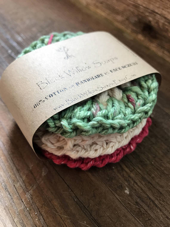 Holiday Stripe Crochet Scrubbies