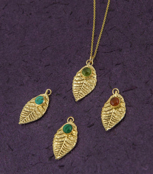 Turquoise Necklace 18K Gold Plated Leaf