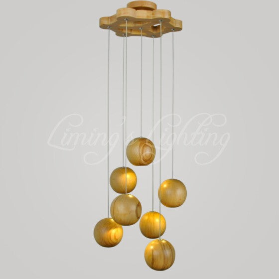 Solid OAK Wood Ball led Chandelier Modern Japanese Nordic Creative Minimalist Living Dining room Wood Wooden Pendant Lamp Light