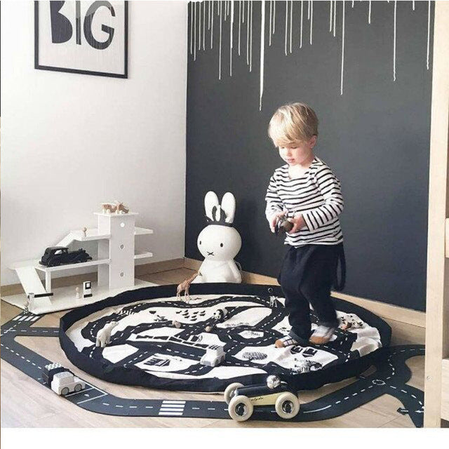 TWINKLECAT 140cm Kids Game Mats Baby Crawling Blanket Round Play Mat Chilren Play Rug Racing Game Carpet Infant Room 100% Cotton