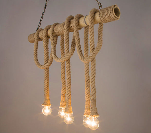 Vintage Bamboo rope Pendant Lamp Retro Countryside wicker Pendant Lights With 6 Lights For Dinning Room,Living Room