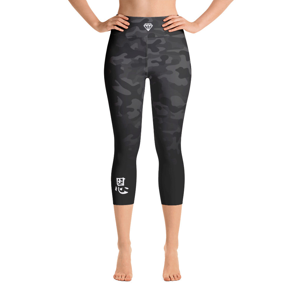 Black Camo | Yoga Capri Leggings