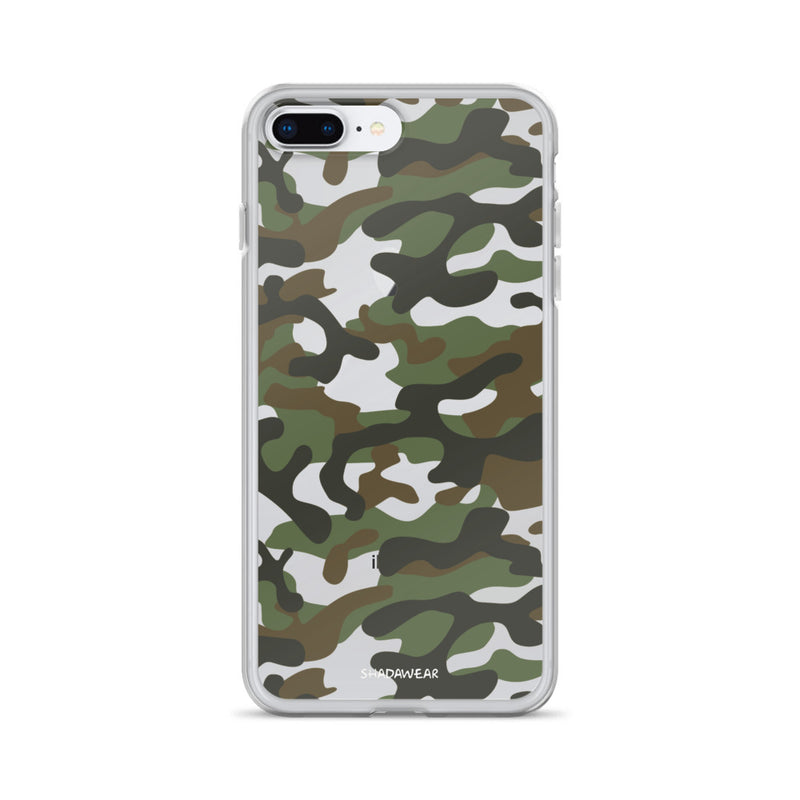 Green Camo | Clear iPhone Case