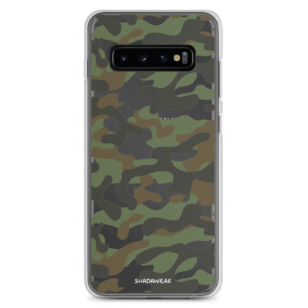 Green Camo | Clear Samsung Case