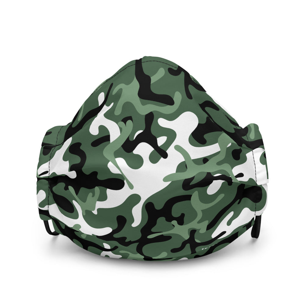 Green White Black Camouflage | Face Mask