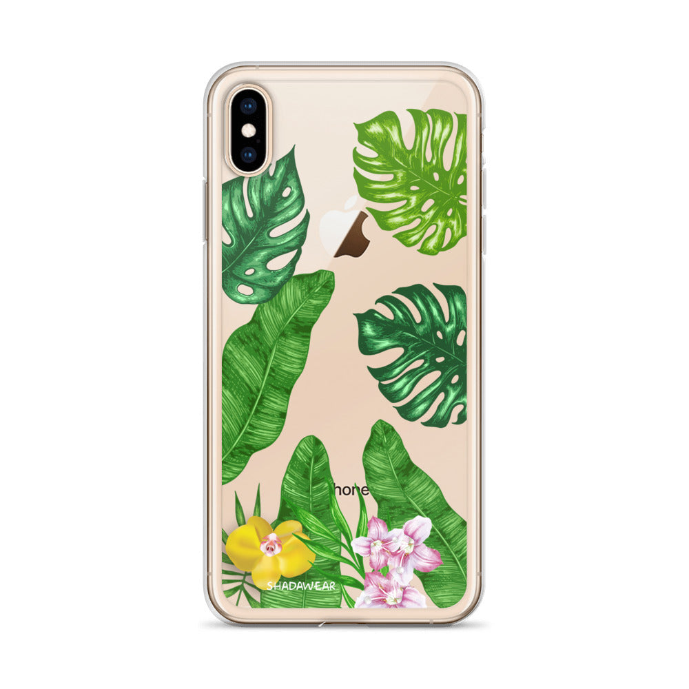 Tropical leaves | Clear iPhone Case