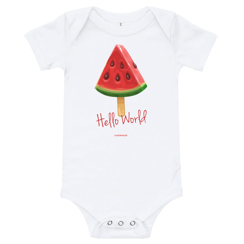 Hello World Watermelon | Baby Bodysuit