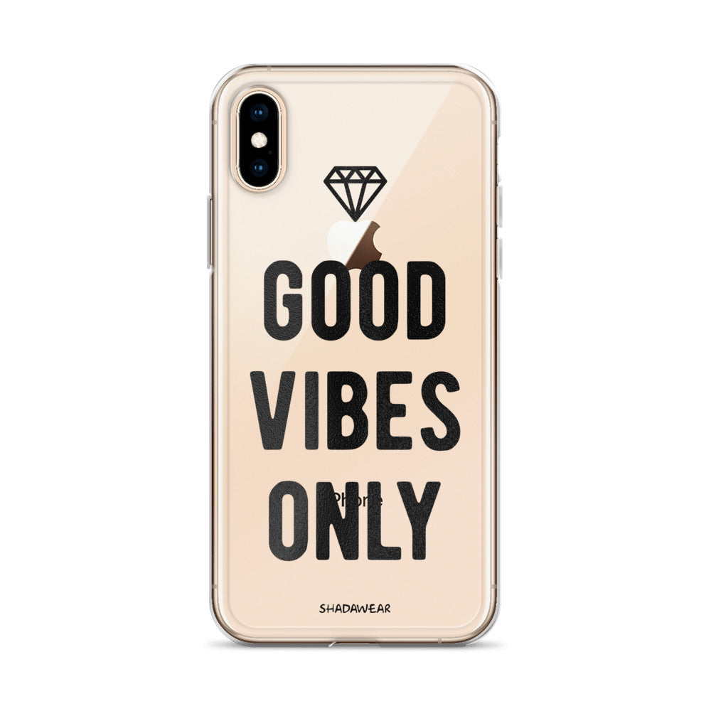 Good Vibes Only Black | Clear iPhone Case