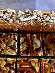 Brown Butter Bars With Honey Almond Caramel