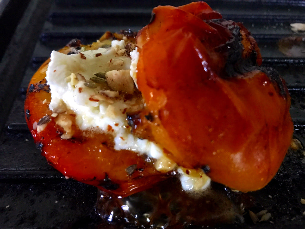 Grilled Peaches with Goat Cheese, Honey, Almonds and Lavender