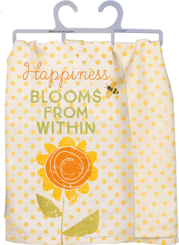 Dish Towel - Happiness Blooms From Within