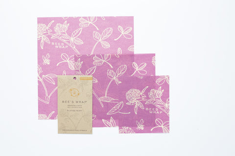 Clover Print Beeswrap Assorted set of 3 sizes