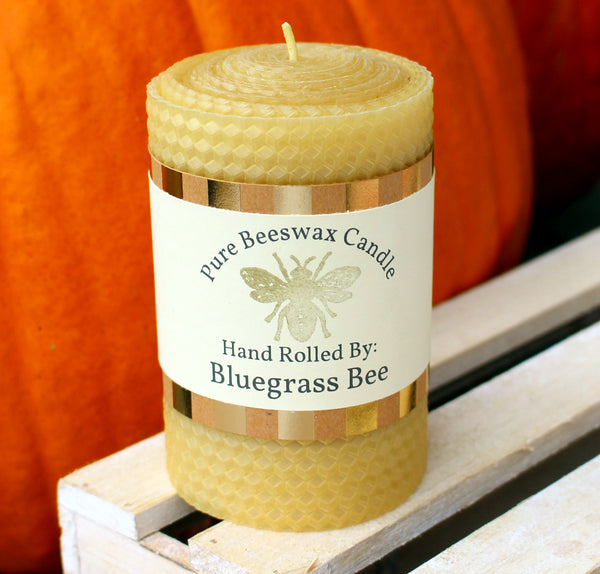 "Beeswax Pillar Candle (4"" H x 3"" W) Hand Rolled Honeycomb Pattern"