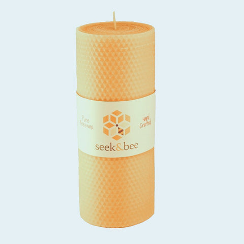 "Beeswax Pillar Candle (8"" H x 3"" W) Hand Rolled Honeycomb Pattern"