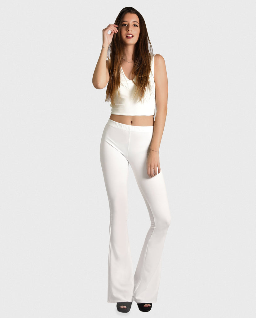 BOHO BASIC BLANCO | Pantalón campana elástico blanco ajustado | THE-ARE