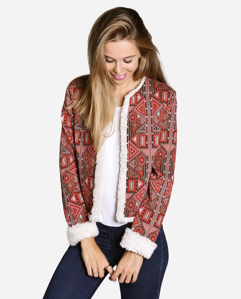 Chaqueta estampado étnico granate forrada con borrego beige para chica | THE-ARE