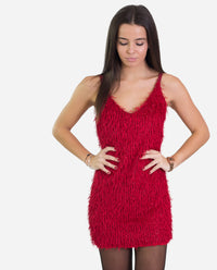 Vestido corto tirantes elegante cintas raso rojo con brillo | THE-ARE