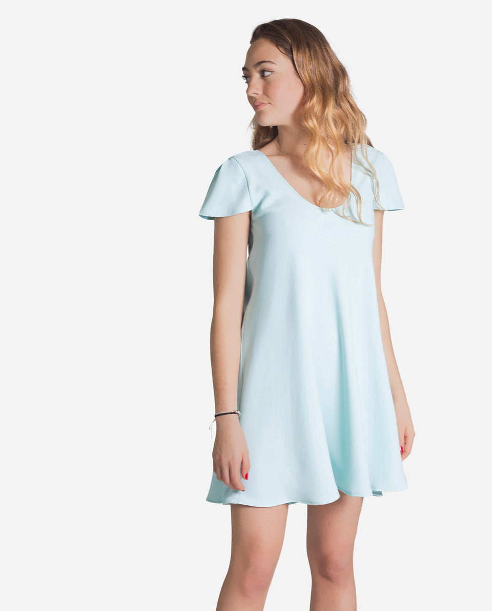 Aquamarine short dress with short sleeves and flared woman | THE-ARE