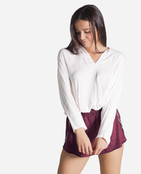Shorts granate de antelina con goma en la cintura mujer | THE-ARE