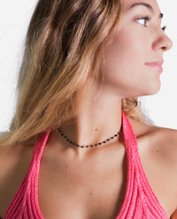 Collar gargantilla cadena plata y cristal negro mujer | THE-ARE