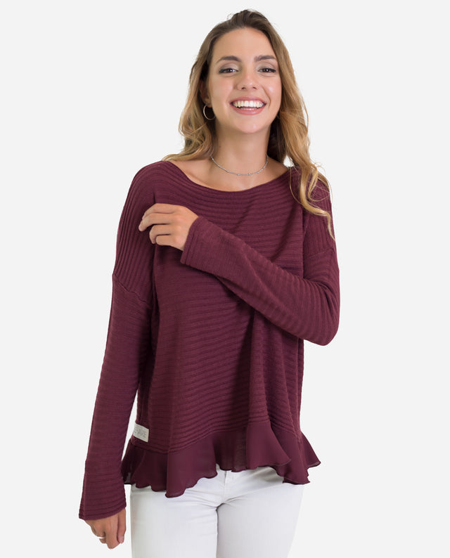 Jersey canalé granate con volante | Jersey fino mujer | THE-ARE