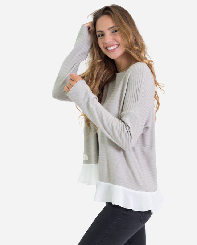 Jersey canalé beige con volante | Jersey fino mujer | THE-ARE