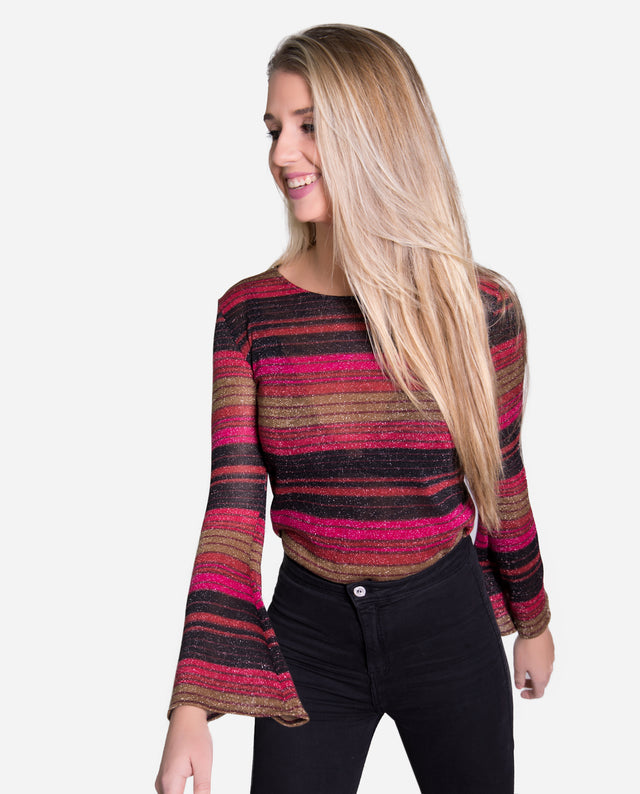 Jersey rayas multicolor fucsia con brillo Y manga acampanada | THE-ARE