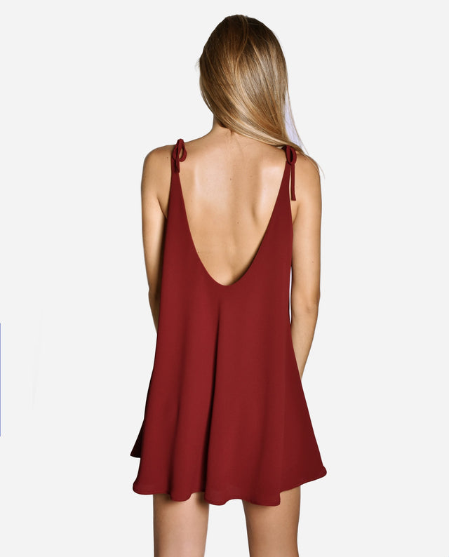 MINIS DRESS GRANATE | Vestido corto mini lazos granate mujer | THE-ARE