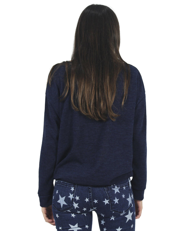 SWEATSHIRT | Sudadera azul con bajo ajustable con cinta de algodón negra | THE-ARE