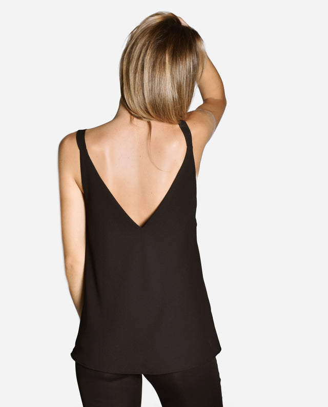 TOP ABERTURAS LUREX | Blusa de tirantes negra con aberturas laterales plata para chica | THE-ARE