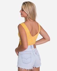 TOP RIO | Top corto de tirantes con lazada amarillo de lunares mujer | THE-ARE