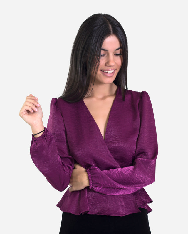 Blusa satinada morado elegante manga larga abullonadas | THE-ARE