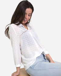 BLUSA PLUMETI | Blusa blanca gasa plumeti manga larga mujer | THE-ARE