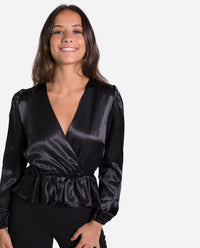 BLUSA DIVA | Blusa satinada negra elegante manga larga abullonada mujer | THE-ARE