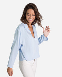 CAMISA LONDON |Camisa azul lisa manga larga mujer oversize | THE-ARE