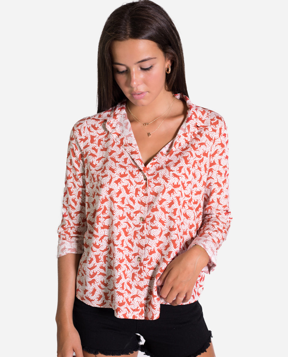 CAMISA CHEETAH | Camisa print animales blanco y teja mujer | Camisas estampadas THE-ARE