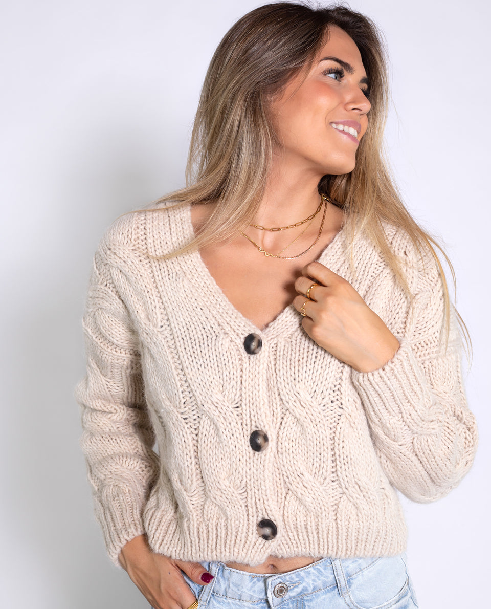 CARDIGAN SUNDAY CHILL BEIGE | Cardigan corto con botones mujer beige | Jerseys THE-ARE