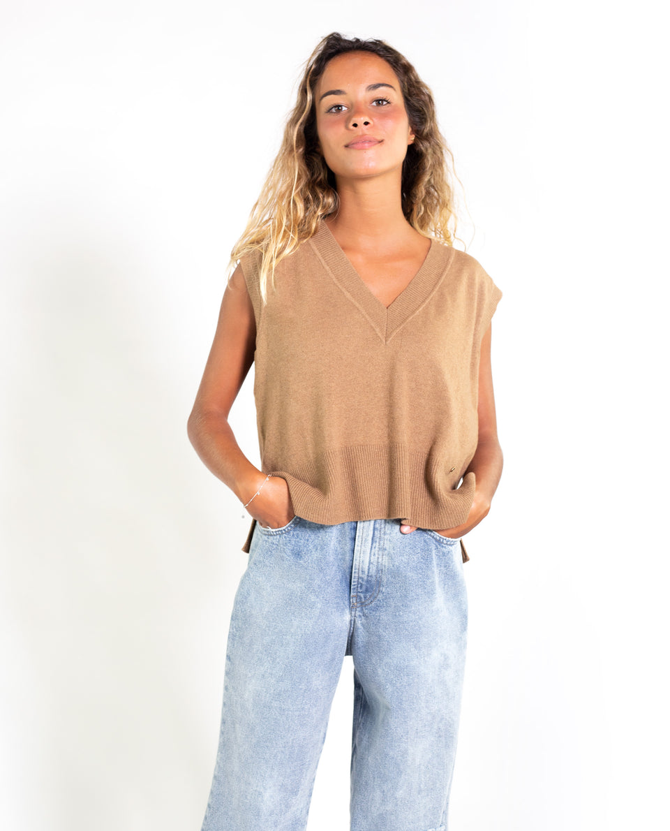 CHALECO MOONSHADOW | Jersey fino sin mangas beige mujer | Jerseys chicas THE-ARE
