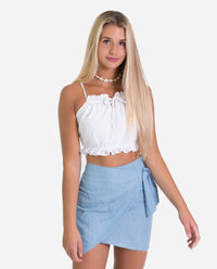 FALDA HABANA | Falda corta denim azul claro lazada regulable a la cintura mujer | THE-ARE
