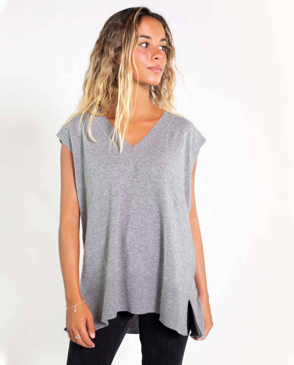 CHALECO MOONSHADOW | Jersey fino sin mangas gris mujer | Jerseys chicas THE-ARE