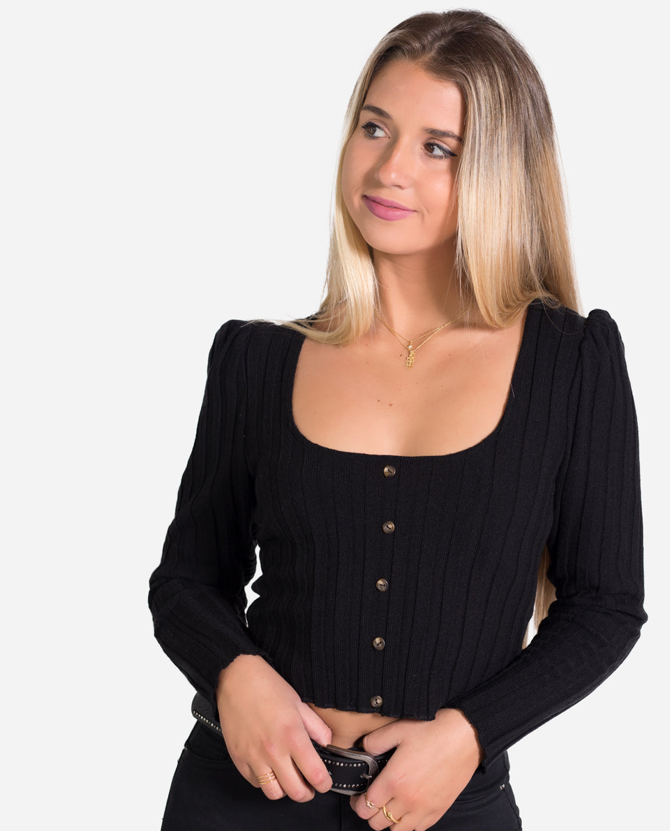 JERSEY CANALÉ BIG | Jersey fino canale negro elastico mujer | THE-ARE