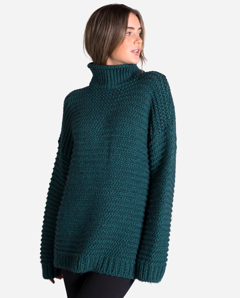 JERSEY CITY | Jersey verde cuello alto oversize mujer | Jerseys anchos chicas | THE-ARE