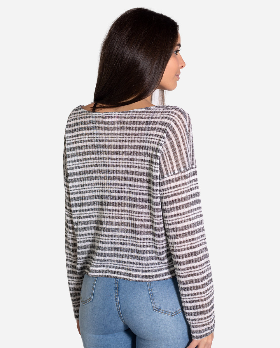 Jersey canalé gris y blanco mujer | Jersey fino oversize THE-ARE