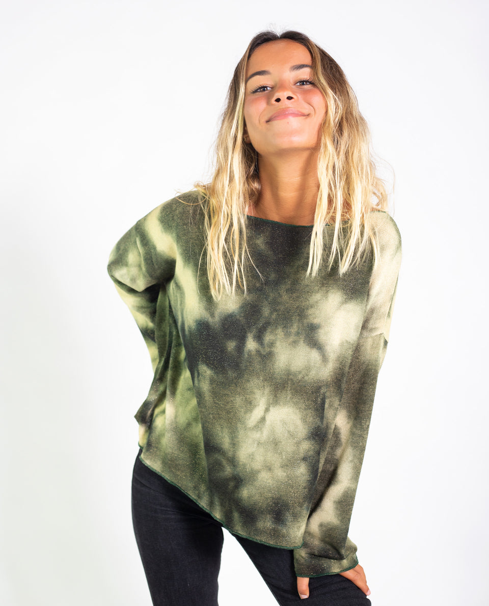 SUÉTER RAINFOREST | Jersey tie dye verde oversize | Jeseys finos mujer THE-ARE