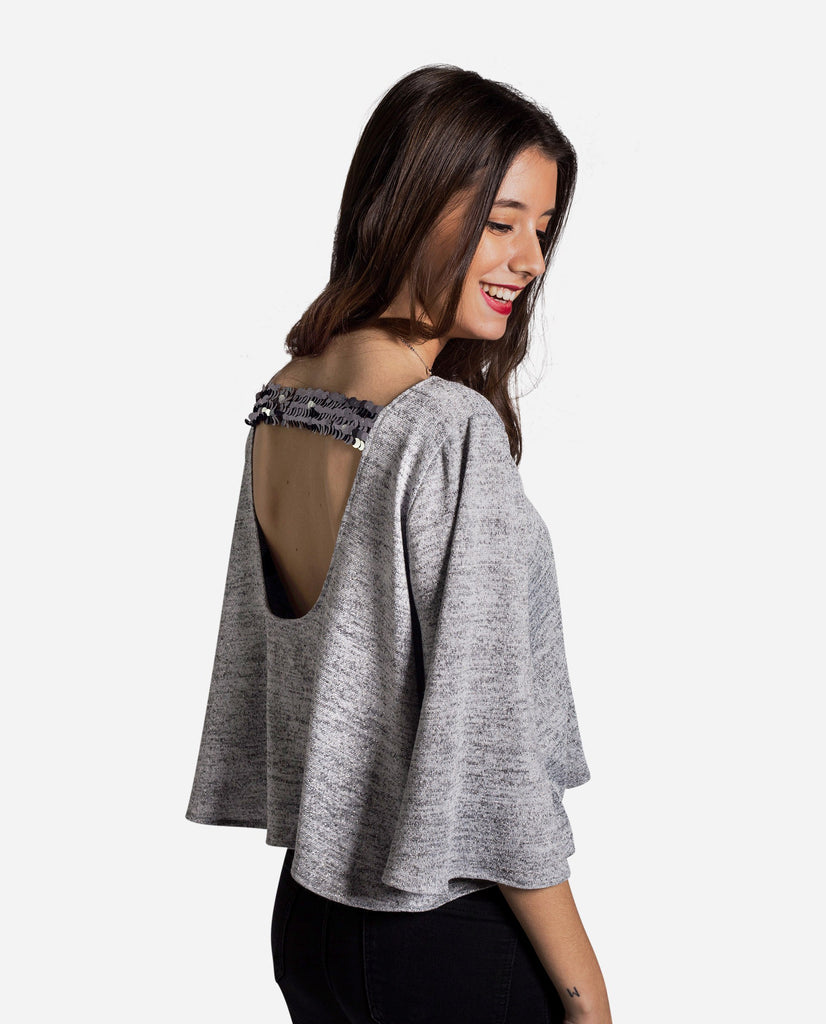 Jersey gris chica | Jersey manga francesa y lentejuelas | THE-ARE