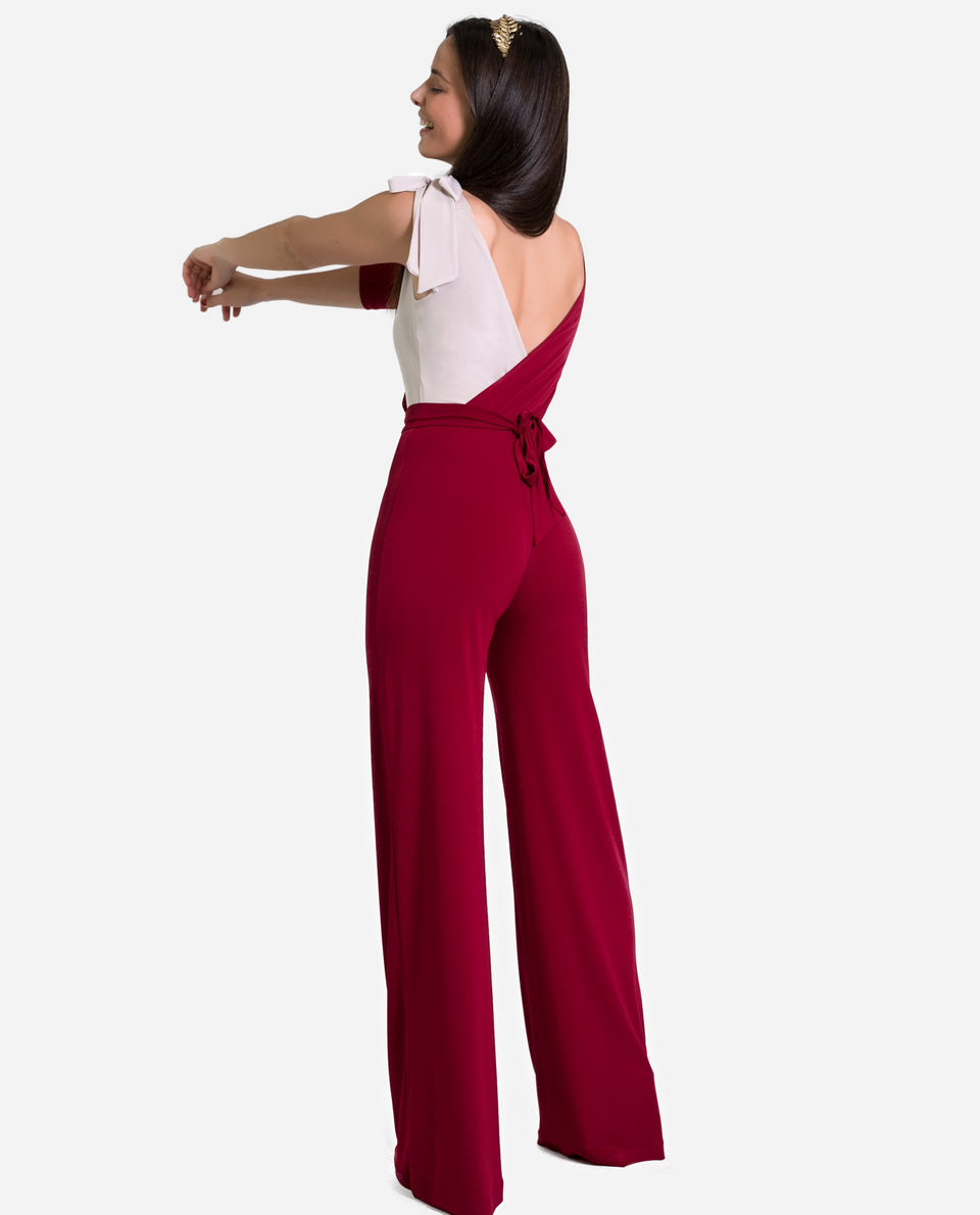 MONKEY LYA | Long burgundy elastic jumpsuit for women graduations and events | THE-ARE